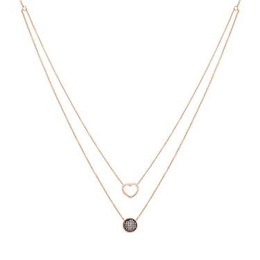 August Woods Rose Gold Heart Double Layer Necklace  - Click to view larger image