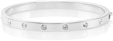 Kate Spade New York Set In Stone Metal Hinged Silver Bangle  - Click to view larger image