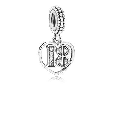 Pandora 18 Years of Love Pendant Charm  - Click to view larger image