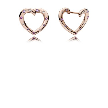 Pandora Rose Bright Hearts Hoop Earrings Click To View Larger Image
