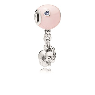 Pandora Elephant & Pink Balloon Charm  - Click to view larger image