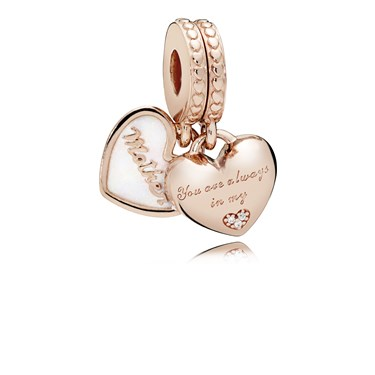Pandora Rose Mother & Daughter Hearts Pendant Charm  - Click to view larger image