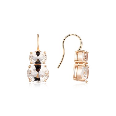 August Woods Rose Gold Clear CZ Drop Earrings  - Click to view larger image