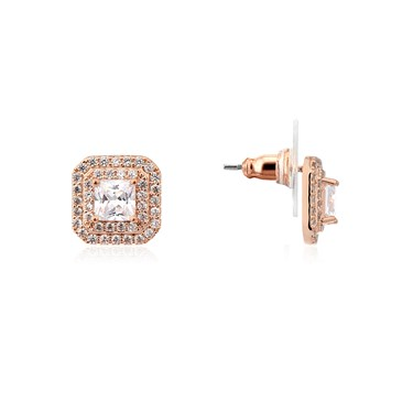 August Woods Rose Gold CZ Square Stud Earrings  - Click to view larger image