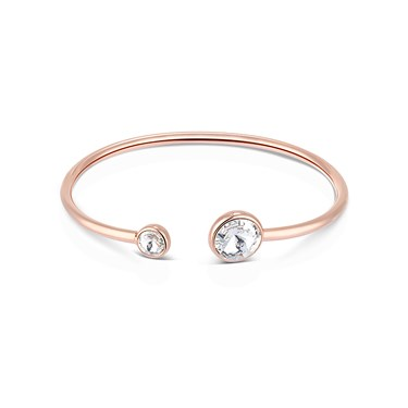 August Woods Rose Gold Double Crystal Open Bangle  - Click to view larger image