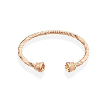 August Woods Rose Gold Open Large Crystal End Bangle  - Click to view larger image