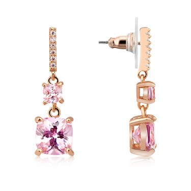August Woods Rose Gold Pink CZ Square Drop Earrings  - Click to view larger image
