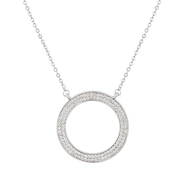 August Woods Silver CZ Open Circle Necklace  - Click to view larger image