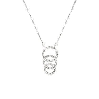 August Woods Silver CZ Open Link Circle Necklace  - Click to view larger image