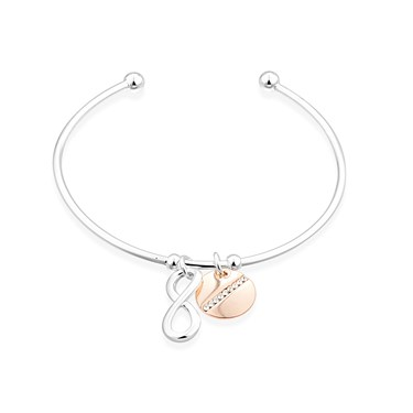 August Woods Silver Infinity Circle Drop Bangle  - Click to view larger image