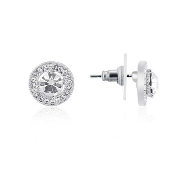 August Woods Silver Large CZ Circle Halo Earrings  - Click to view larger image