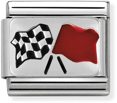 Nomination Chequered Flag Charm  - Click to view larger image