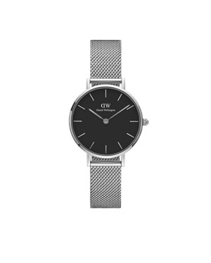 Daniel Wellington Petite Black Sterling 28mm Silver Watch  - Click to view larger image