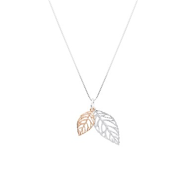 Argento Rose Gold Mix Double Leaf Necklace  - Click to view larger image
