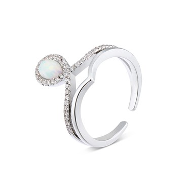 Dirty Ruby Silver Faux Opal CZ Teardrop Adjustable Ring  - Click to view larger image