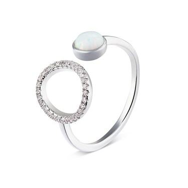 Dirty Ruby Silver Faux Opal Circle Adjustable Ring  - Click to view larger image