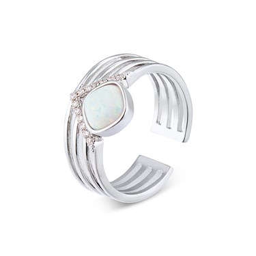 Dirty Ruby Silver Faux Opal CZ Adjustable Ring  - Click to view larger image