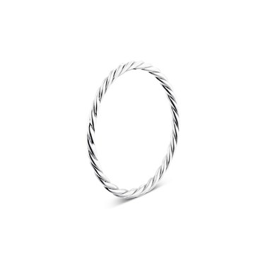 Argento Silver Plain Twist Ring  - Click to view larger image
