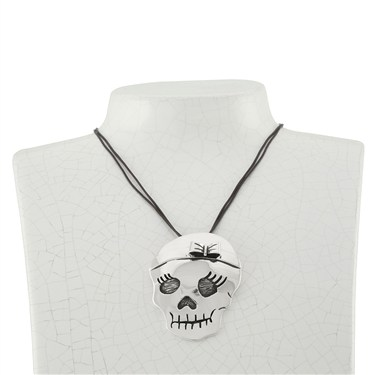 Argento Skull And Bow Necklace