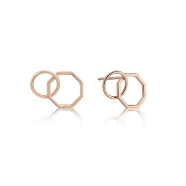 Ania Haie Rose Gold Two Shape Stud Earrings  - Click to view larger image