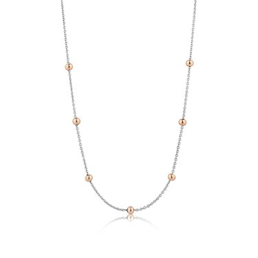 Ania Haie Silver & Rose Gold Chain Ball Necklace  - Click to view larger image