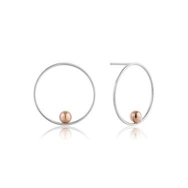 Ania Haie Silver & Rose Gold Hoop Earrings  - Click to view larger image