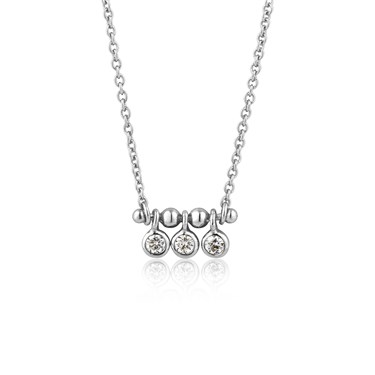 Ania Haie Silver Triple Sparkle Stud Necklace  - Click to view larger image