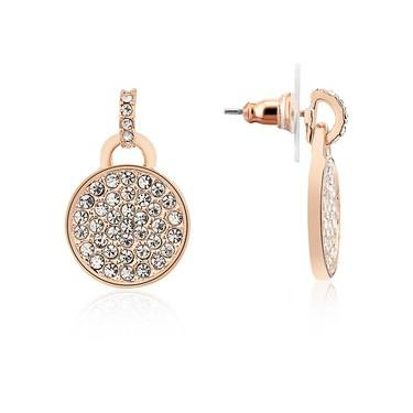 August Woods Rose Gold Small Drop CZ Pave Earrings  - Click to view larger image