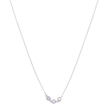 August Woods Silver Blue Pink Clear Necklace  - Click to view larger image