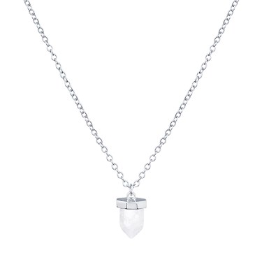 August Woods Silver Rock Crystal Drop Necklace  - Click to view larger image