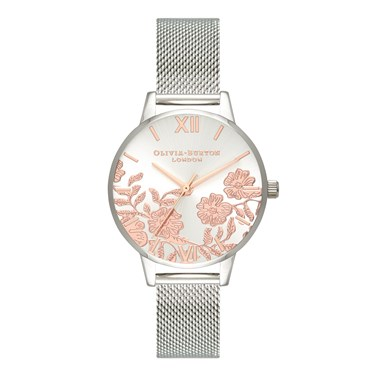 Olivia Burton Midi Lace Detail Rose Gold + Silver Watch  - Click to view larger image