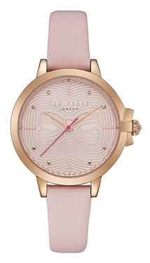 Ted Baker Beth Pink Leather Bow Dial Watch  - Click to view larger image