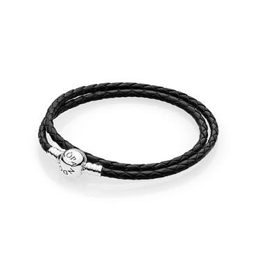 Pandora Black Braided Double-Leather Charm Bracelet  - Click to view larger image