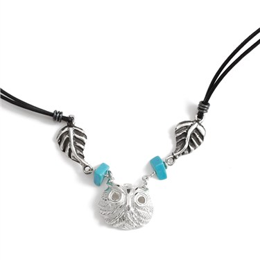 Argento Owl Leaf Necklace