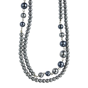 Karma Layered Grey Pearl Necklace