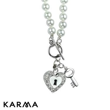 Karma Pearl Locked Heart Necklace