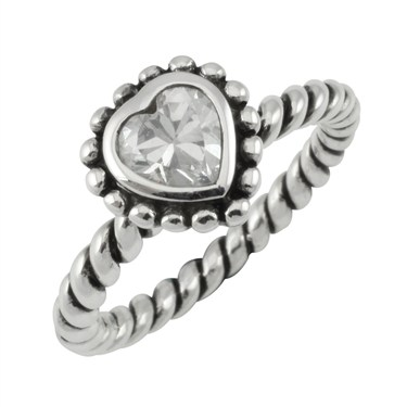 Argento Stacking Rings Twisted Silver Heart Ring