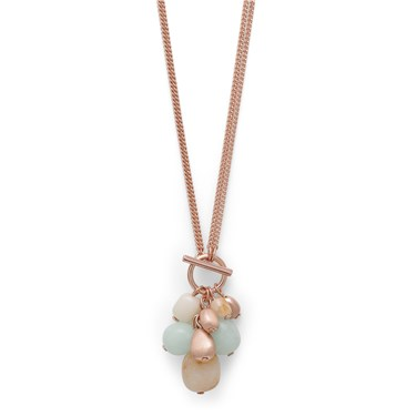 Pilgrim Lilian Rose Gold Plated Green Necklace  - Click to view larger image