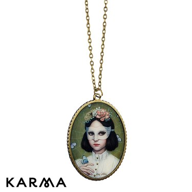 Karma Masked Girl Pendant Necklace