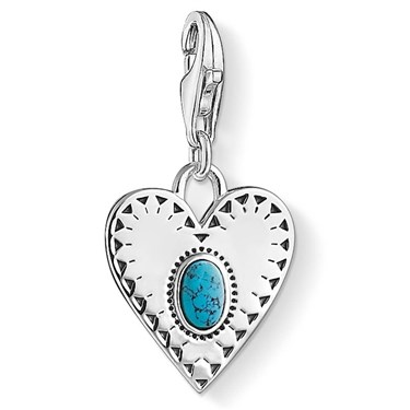 Thomas Sabo Turquoise Heart Charm  - Click to view larger image