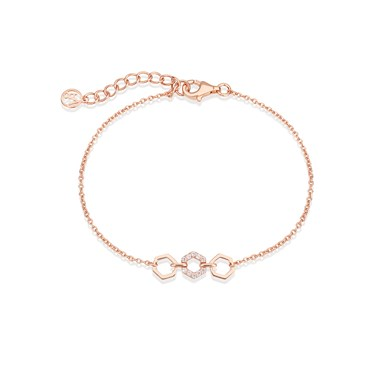 Argento Rose Gold Honeycomb Open Bracelet  - Click to view larger image