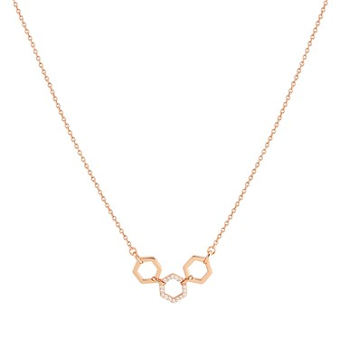 Argento Rose Gold Honeycomb Open Necklace  - Click to view larger image