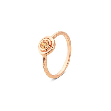 Argento Rose Gold Dot Border Champagne Ring  - Click to view larger image