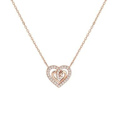 Argento Rose Gold Heart Twist Necklace  - Click to view larger image