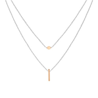 Argento Rose Gold Mix Double Layer Bar Necklace  - Click to view larger image