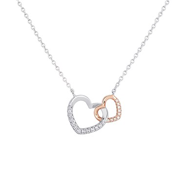 Argento Interlinked Heart Necklace  - Click to view larger image
