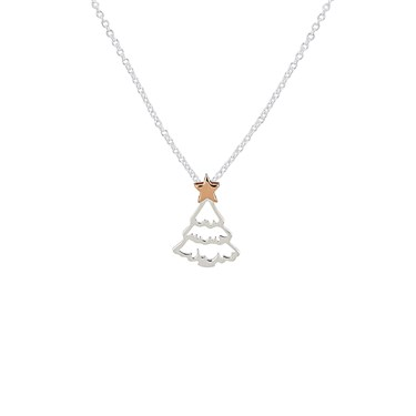 Argento Rose Gold + Silver Christmas Tree Necklace  - Click to view larger image