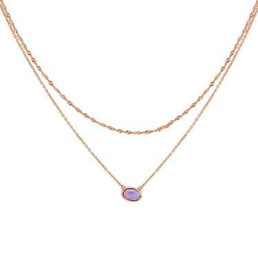 Argento Rose Gold Oval Purple Opal Necklace   - Click to view larger image