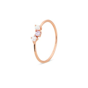 Argento Rose Gold Triple Purple CZ Opal Ring  - Click to view larger image