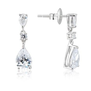 Argento Silver Pear Crystal Drop Earrings  - Click to view larger image